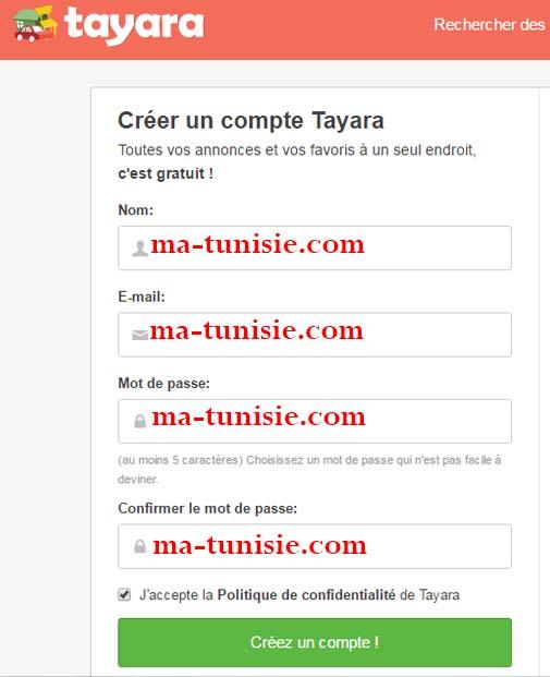 connexion sur tayara annonce tunisie